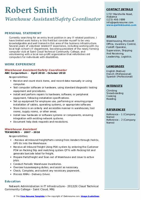 Warehouse Assistant/Safety Coordinator Resume Template