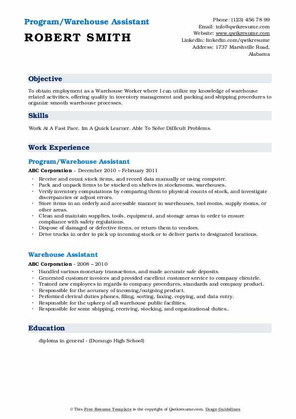 Program/Warehouse Assistant Resume Model