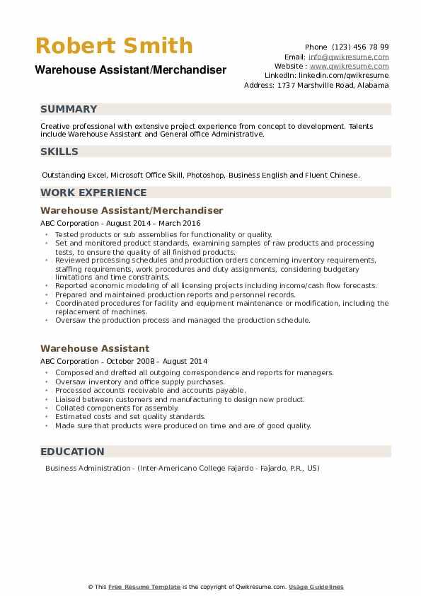 Warehouse Assistant/Merchandiser Resume Sample
