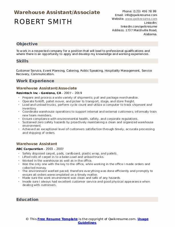 Warehouse Assistant/Associate Resume Format