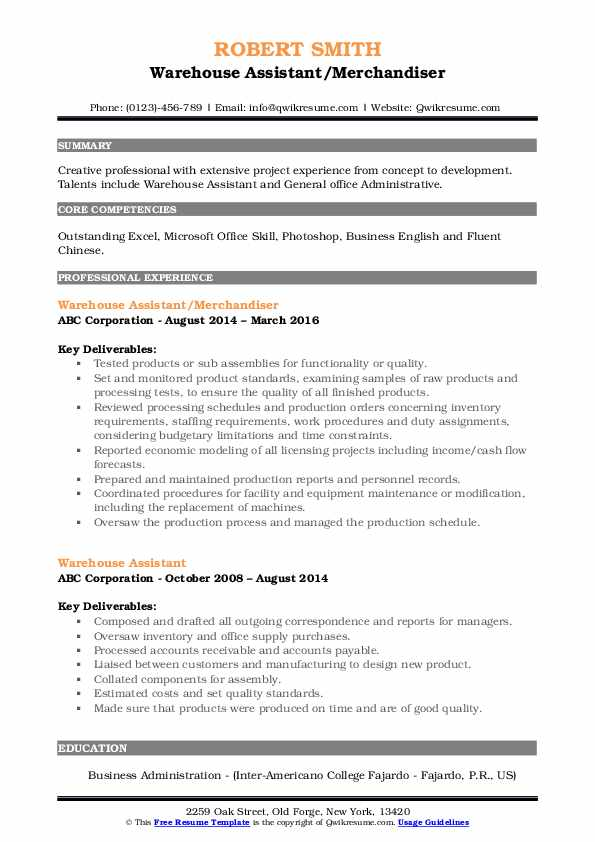 Manufacturing Line Leader Resume Example
