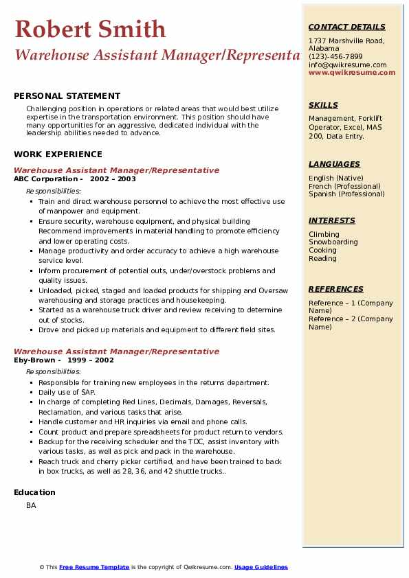 warehouse assistant manager resume samples