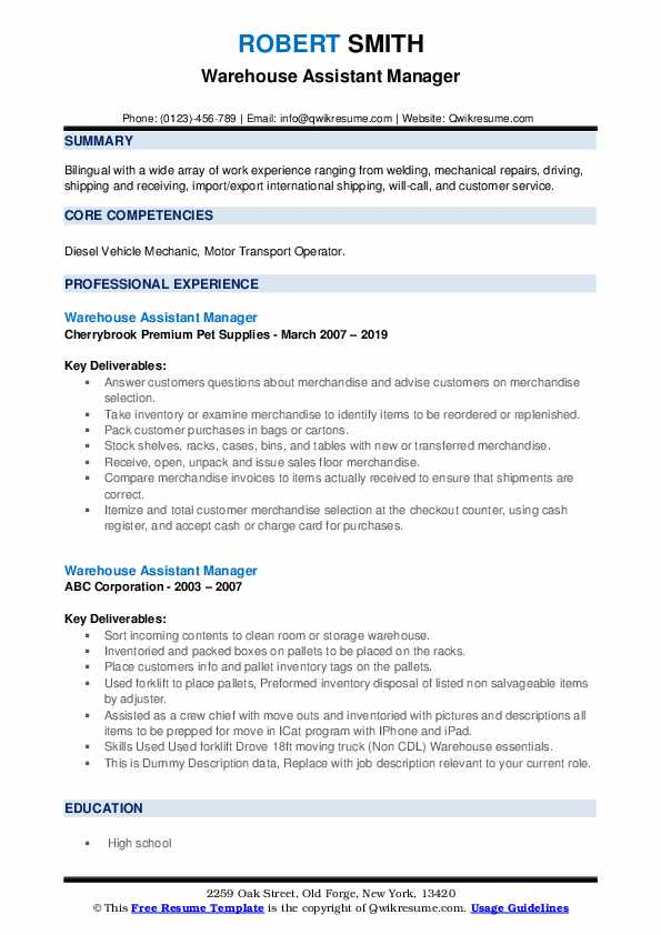 Warehouse Assistant Manager Resume example