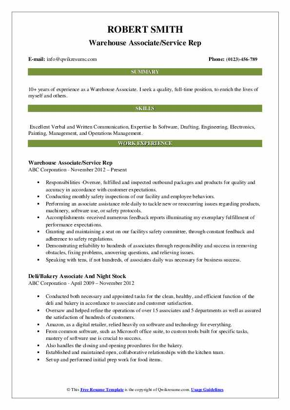 Warehouse Associate/Service Rep Resume Example