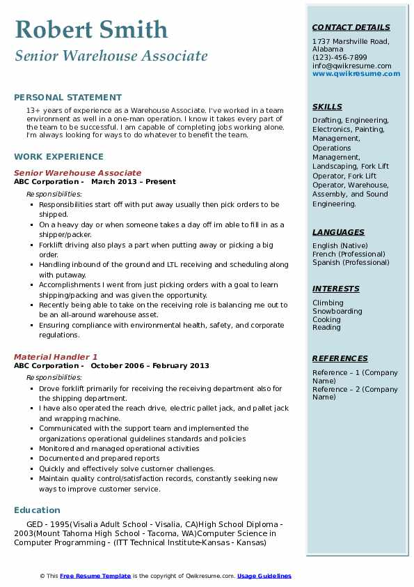Warehouse Associate Resume Samples Qwikresume