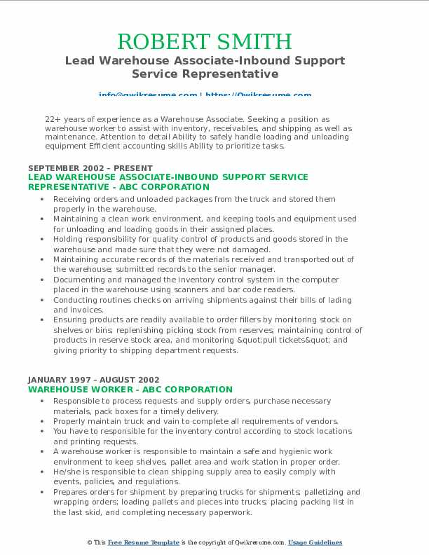 Lead Warehouse Associate-Inbound Support Service Representative Resume Model