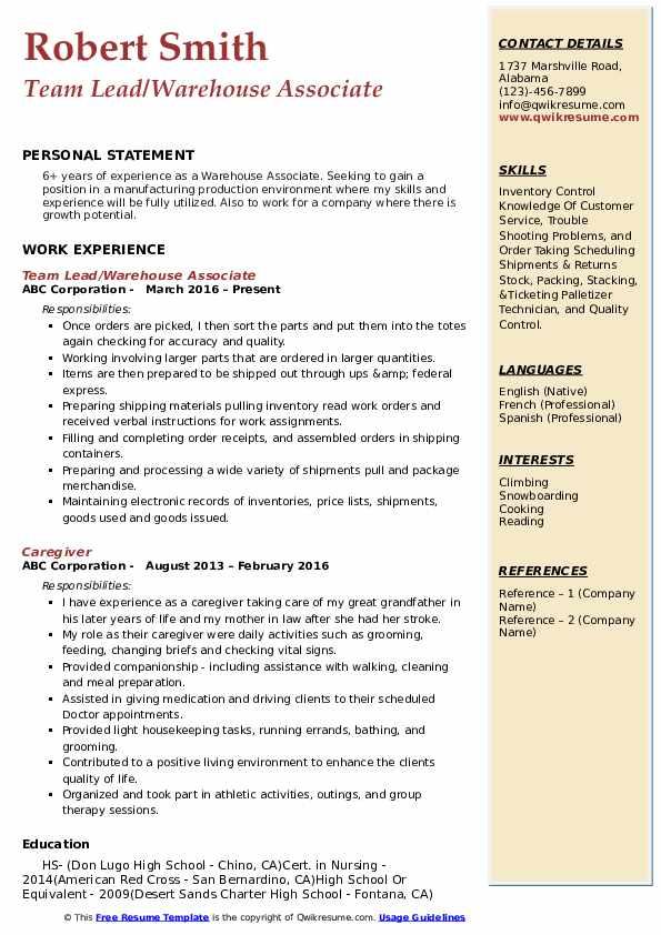 warehouse associate resume samples