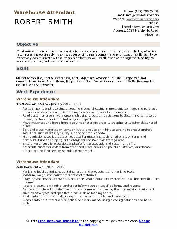 Warehouse Attendant Resume Format
