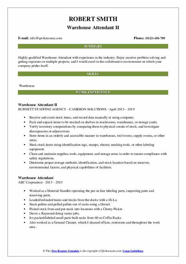 Warehouse Attendant II Resume Example