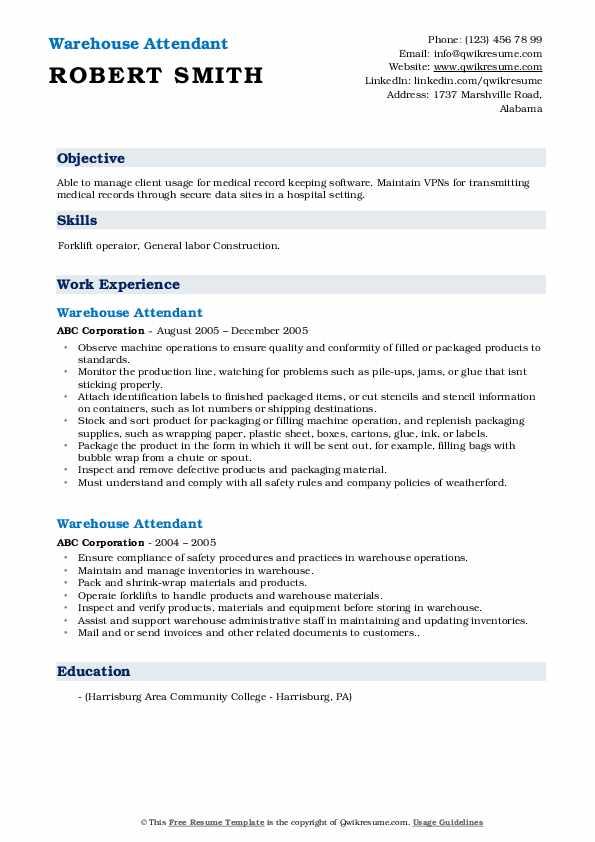 Warehouse Attendant Resume Model