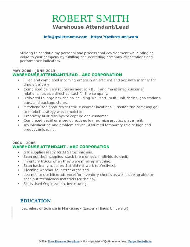 Warehouse Attendant/Lead Resume Model