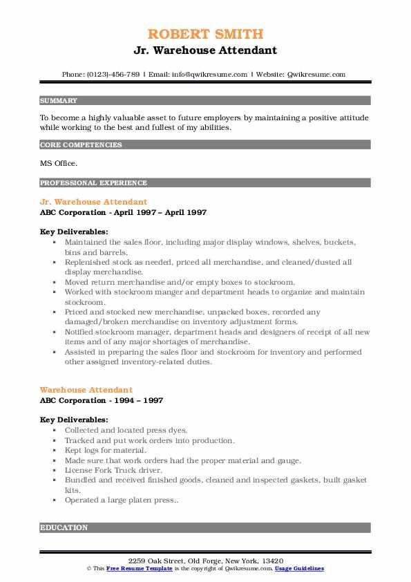 Jr. Warehouse Attendant Resume Format