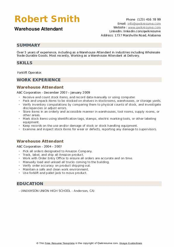 Warehouse Attendant Resume example