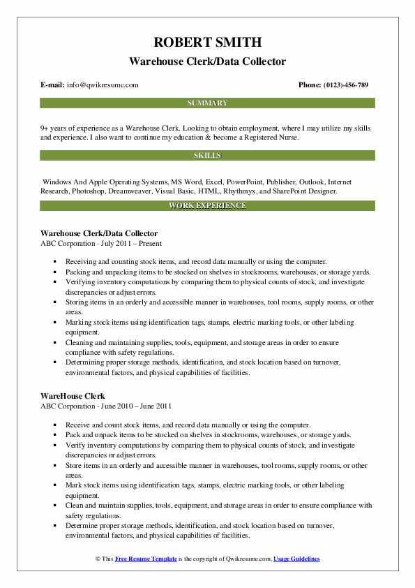Warehouse Clerk/Data Collector Resume Sample