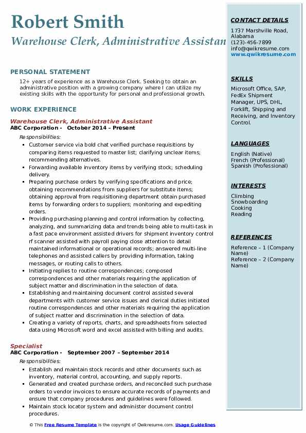Warehouse Clerk, Administrative Assistant Resume Template