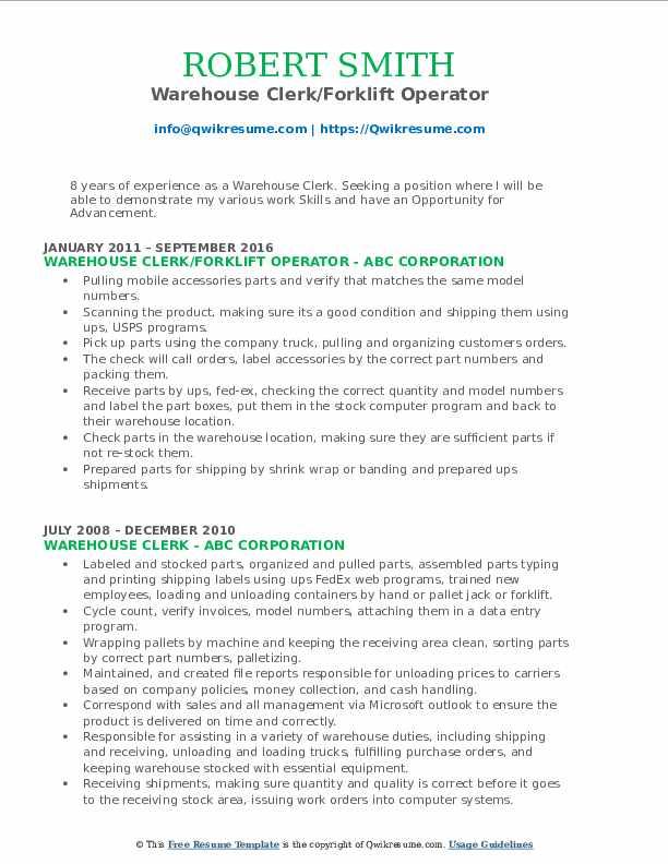Warehouse Clerk/Forklift Operator Resume Model