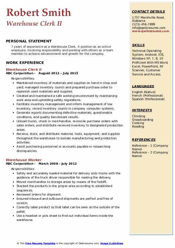 Warehouse Clerk II Resume Format