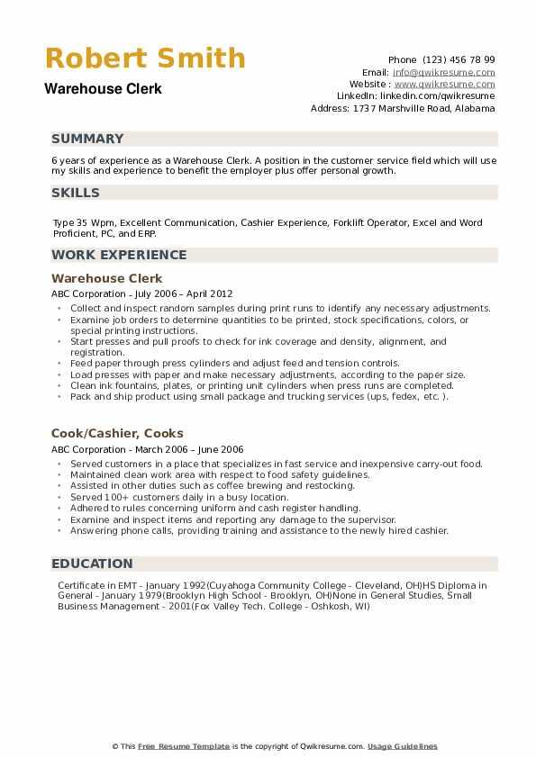 warehouse clerk resume - Yatay.horizonconsulting.co