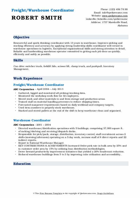 Freight/Warehouse Coordinator Resume Model