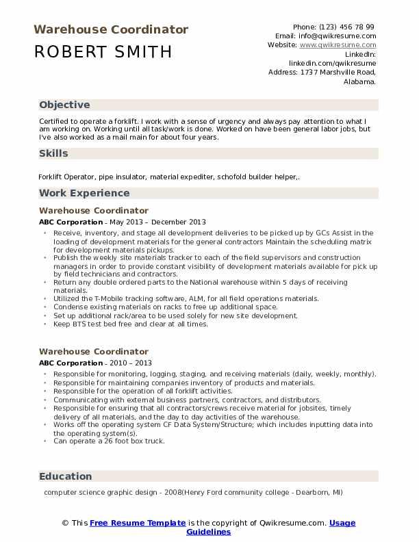 Warehouse Coordinator Resume example