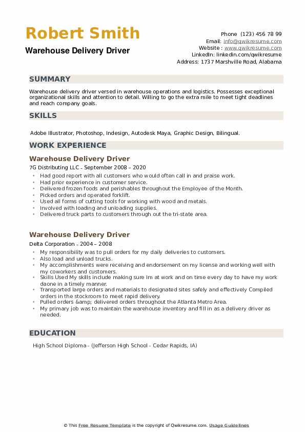 Warehouse Delivery Driver Resume example