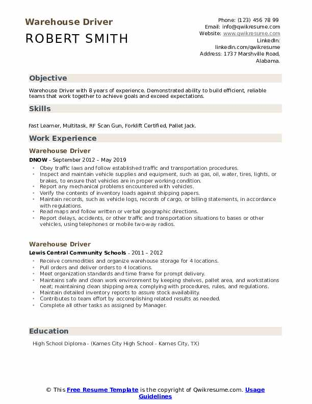 Warehouse Driver Resume Example