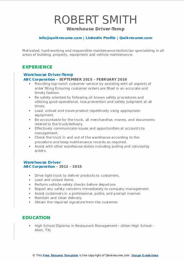 Warehouse Driver-Temp Resume Format