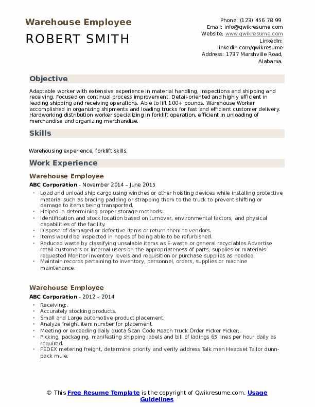 Warehouse Employee Resume Template