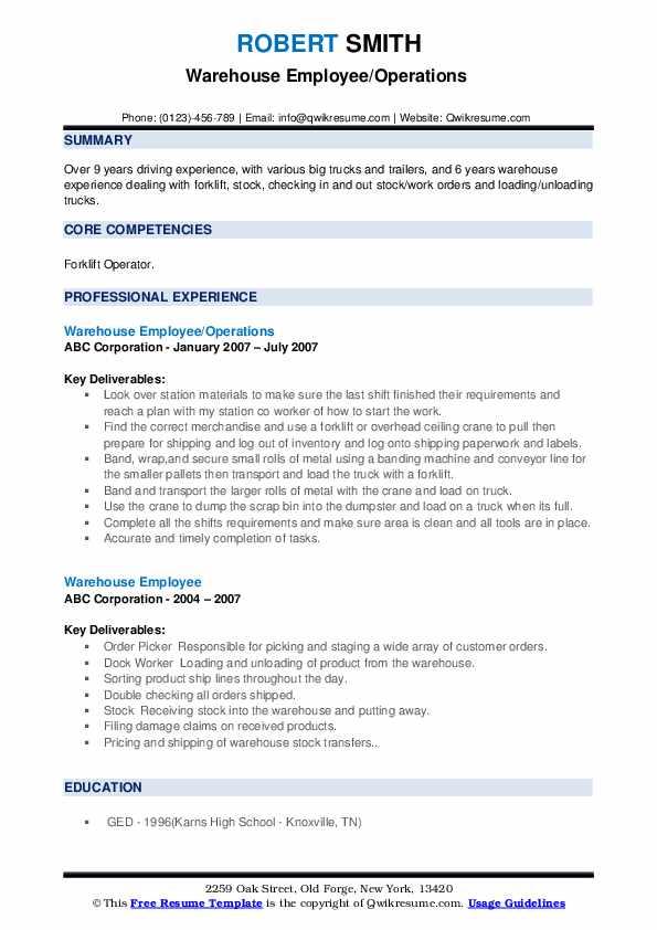 Warehouse Employee/Operations  Resume Model