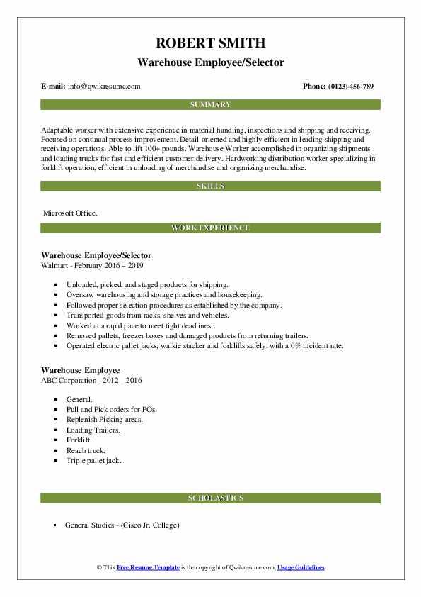 Warehouse Employee/Selector Resume Sample