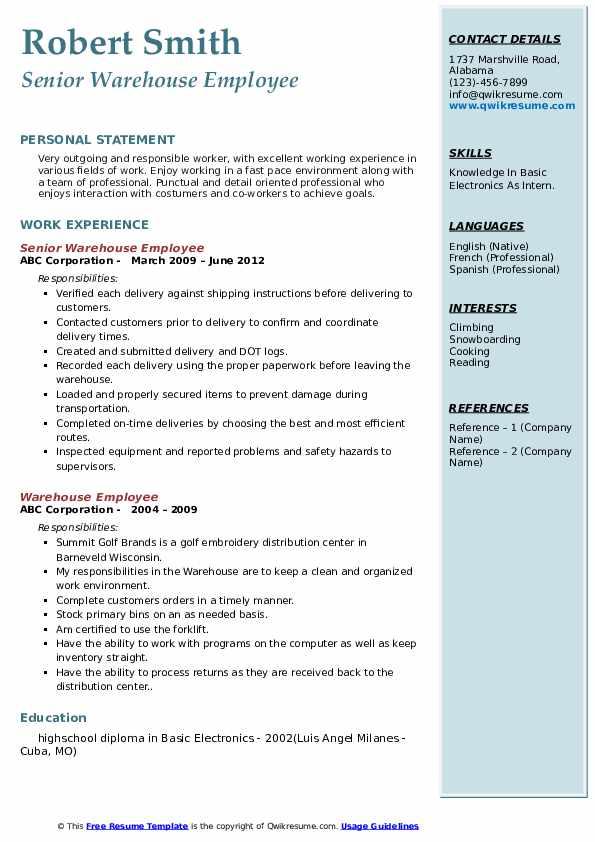 Senior Warehouse Employee Resume Format
