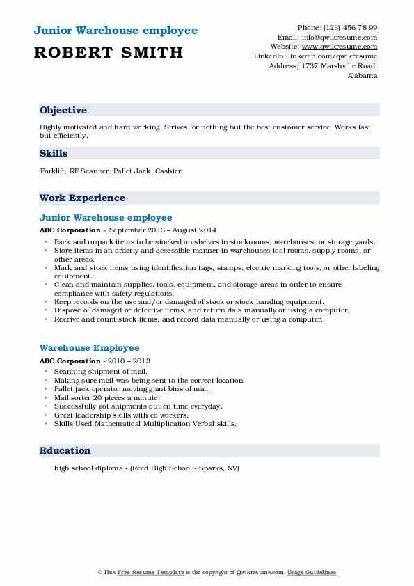 Junior Warehouse employee Resume Format