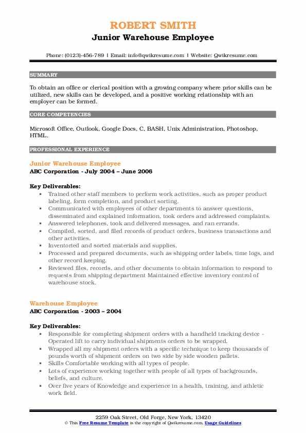 Junior Warehouse Employee Resume Example