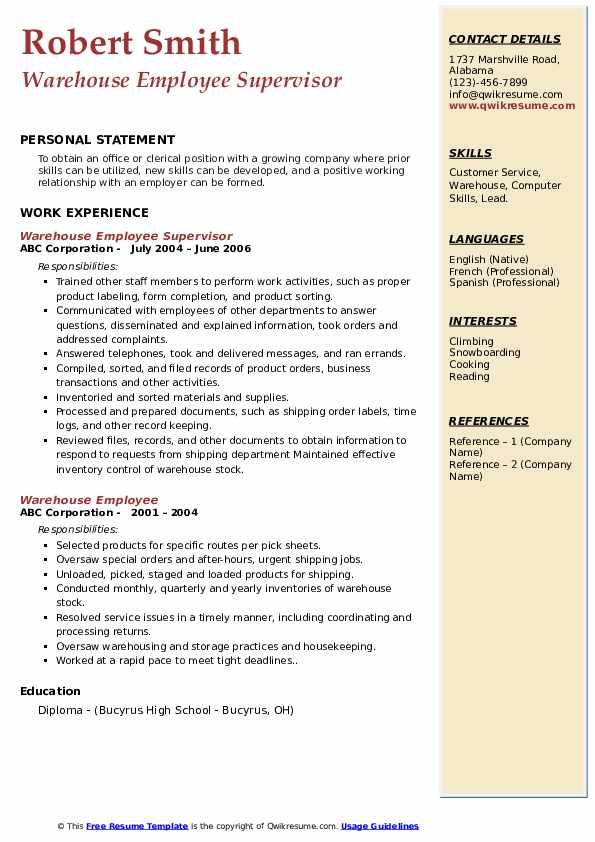 Warehouse Employee Supervisor Resume Model
