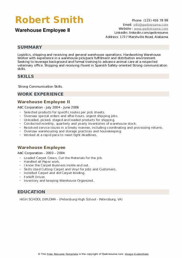 Warehouse Employee II Resume Format