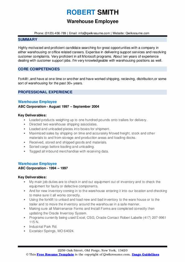 Warehouse Employee Resume example