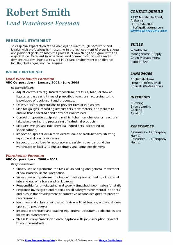 Lead Warehouse Foreman Resume Format
