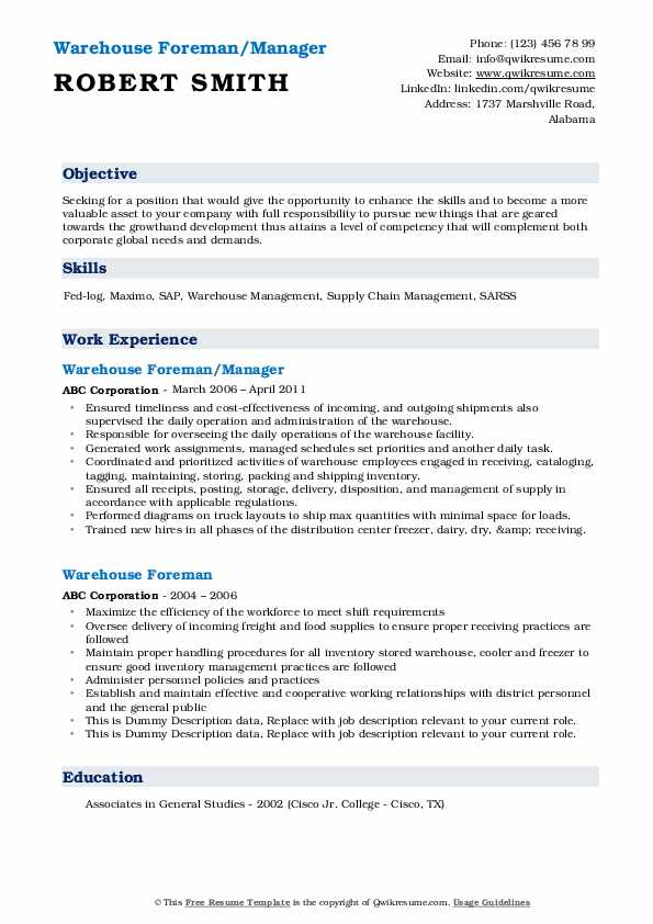 Warehouse Foreman/Manager Resume Format