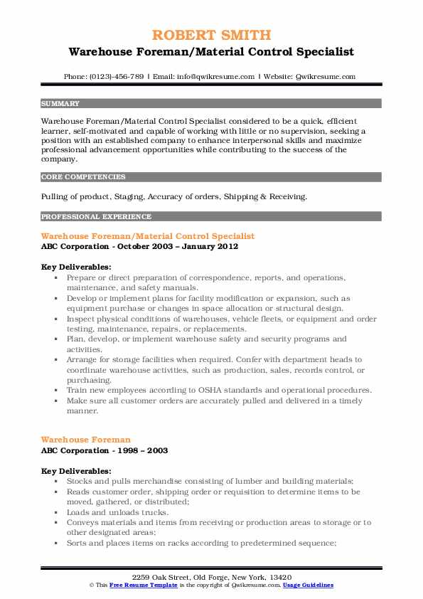 Warehouse Foreman/Material Control Specialist Resume Format