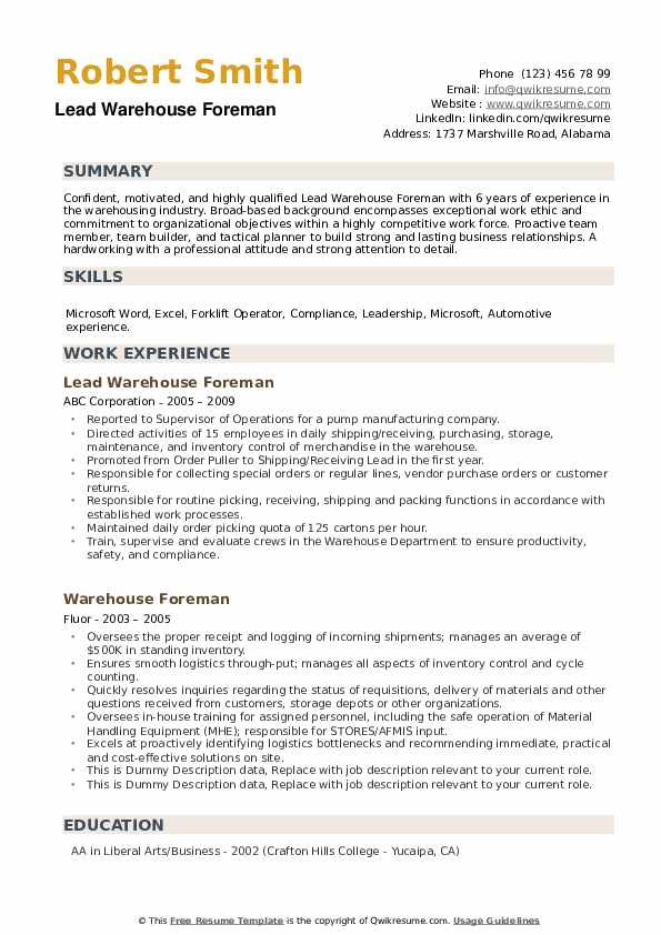 Lead Warehouse Foreman Resume Model