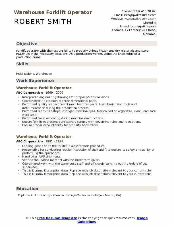Warehouse Forklift Operator Resume example