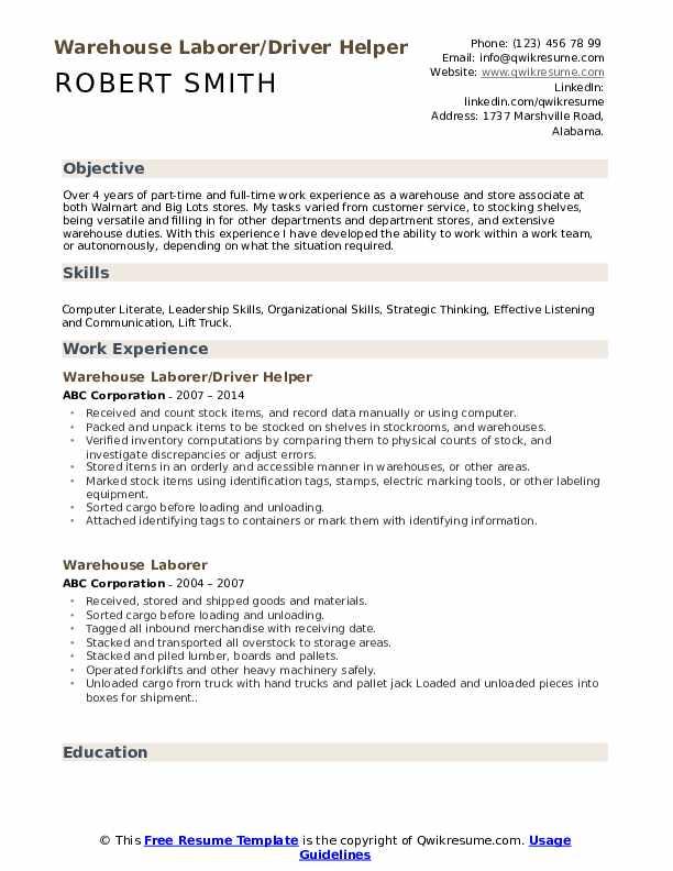 Warehouse Laborer/Driver Helper Resume Format