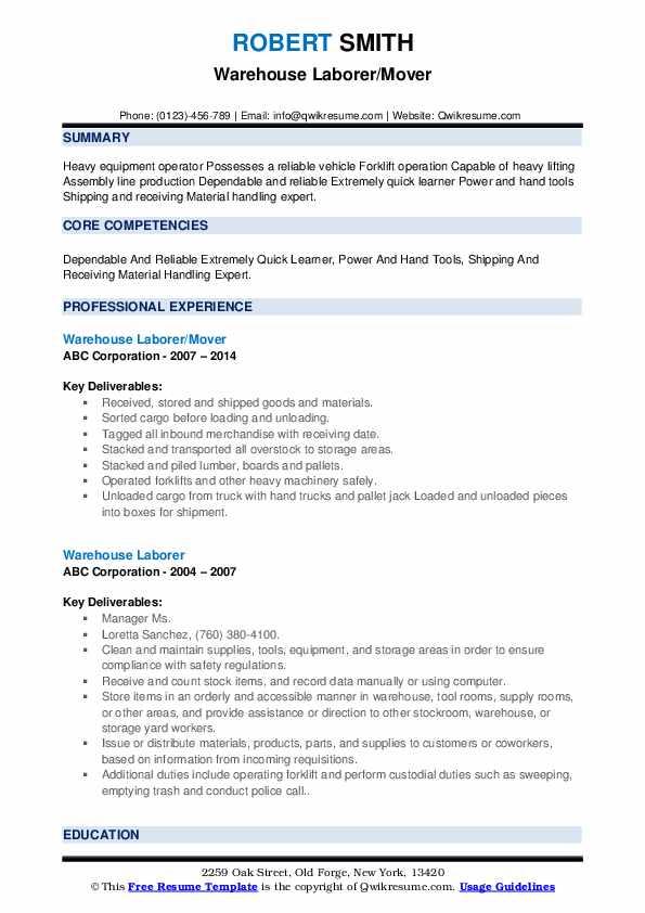 Warehouse Laborer/Mover Resume Model