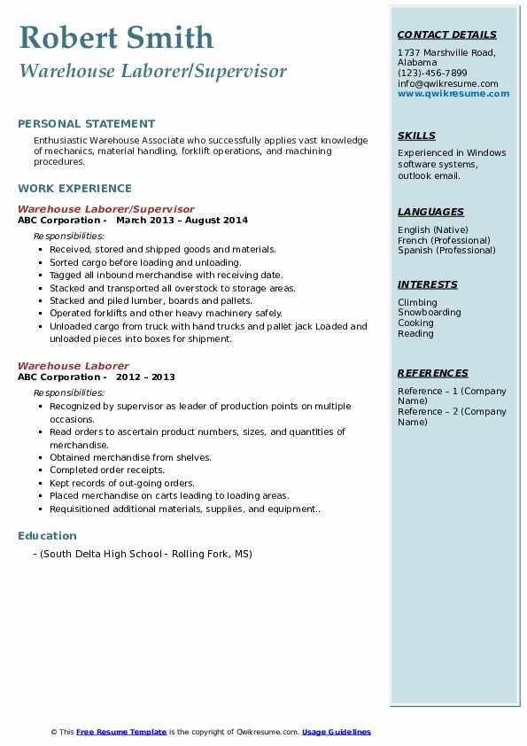 Warehouse Laborer/Supervisor Resume Format