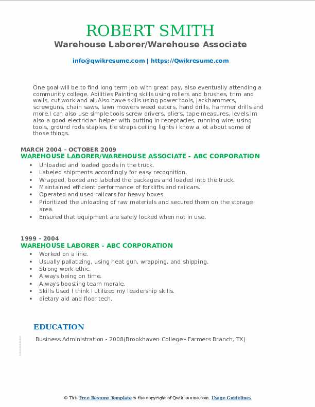 Warehouse Laborer/Warehouse Associate Resume Example