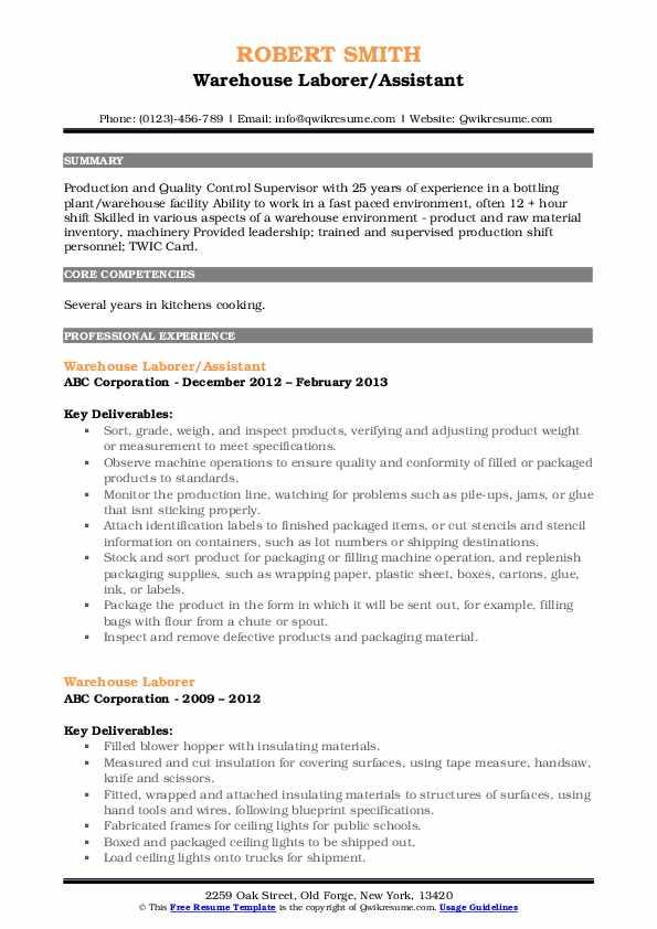 Warehouse Laborer/Assistant Resume Format