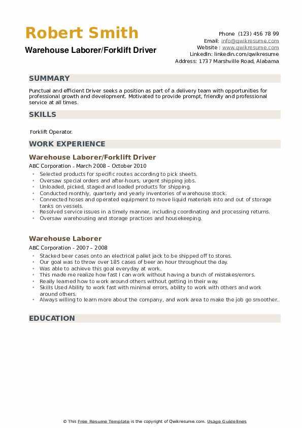 Warehouse Laborer/Forklift Driver Resume Template