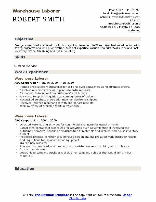 Warehouse Laborer Resume example