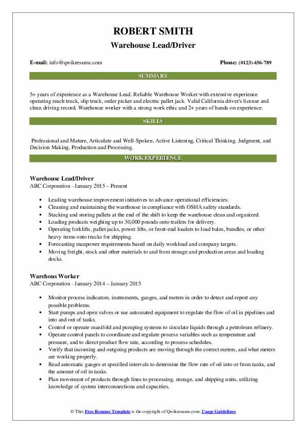 Warehouse Lead/Driver Resume Example