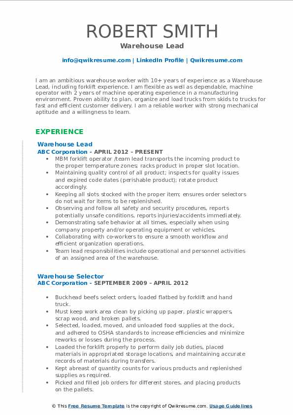 Warehouse Lead Resume Samples | QwikResume